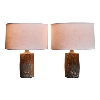Gunnar Nylund Pair of Ceramic Table Lamps for Rorstrand, Sweden For Sale