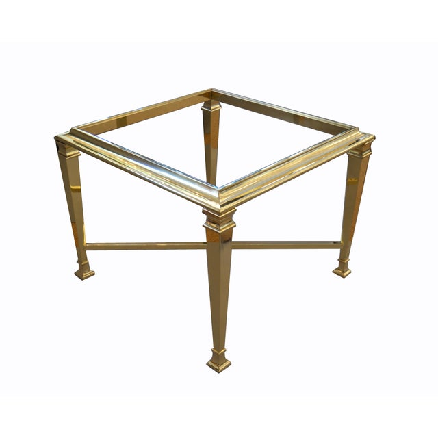 1970s Hollywood Regency French Maison Jansen Brass Tables With Glass Tops, Pair For Sale - Image 5 of 12