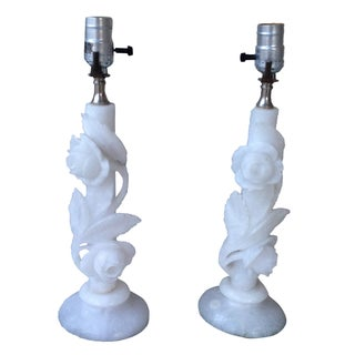Vintage White Marble/Onyx Table Lamps - A Pair