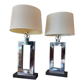 Mid-Century Modern Chrome and Black Bases Lamps - a Pair For Sale