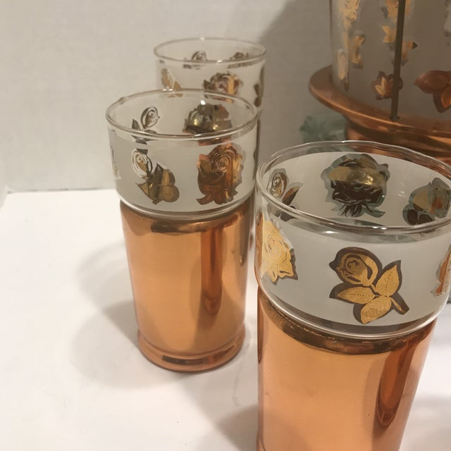 1950s Mid Century Modern Copper Detailed Ice Tea Set - 9 Pieces For Sale In Philadelphia - Image 6 of 13