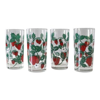 4 Vintage Strawberry Drinking Glasses Tumblers Red White Mid Century