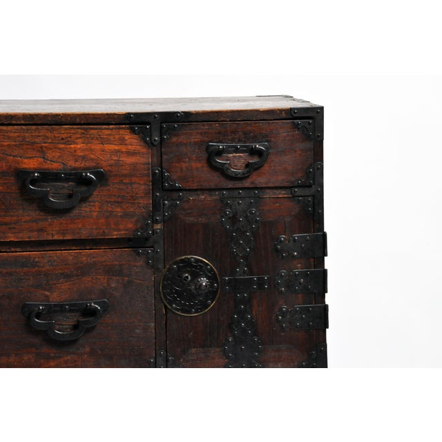 Japanese Tansu With Black Color Hardware For Sale - Image 9 of 13
