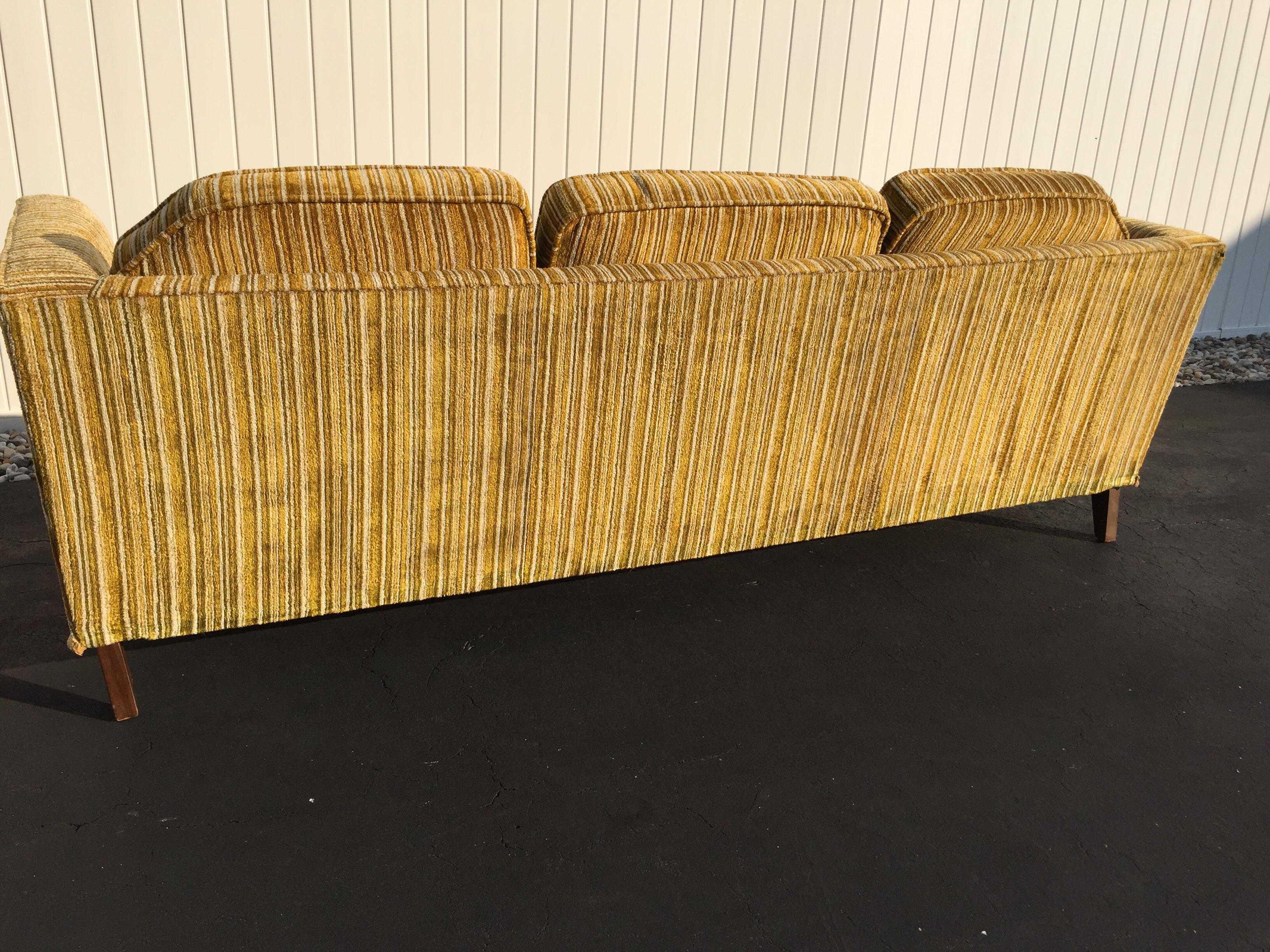 Kroehler Royale Mid Century Gold Striped Sofa   Image 9 Of 11