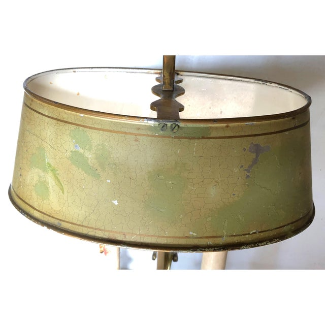 French Brass and Tole Bouillotte Candlestick Lamp For Sale - Image 4 of 6
