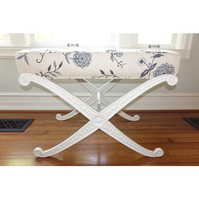 Metal Crewel Upholstered Blue and White Cast Iron X Base Bench For Sale - Image 7 of 7