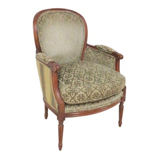 Pearson Louis XVI Style Walnut Bergere Chair For Sale