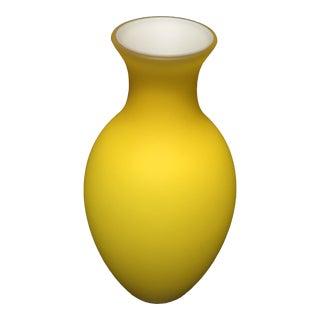 Vintage Yellow Mayo Murauó Beethoven Murano Glass Vase For Sale
