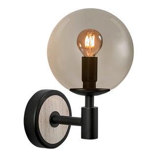 Art Deco Satin Black and Smokey Glass Lunar Wall Light For Sale