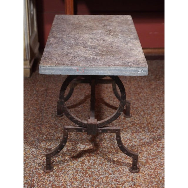 1940s French Wrought Iron and Stone Top Coffee Table For Sale - Image 5 of 6