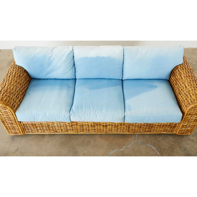 Ralph Lauren Woven Rattan Sofa With Blue Ombre Upholstery For Sale In San Francisco - Image 6 of 13