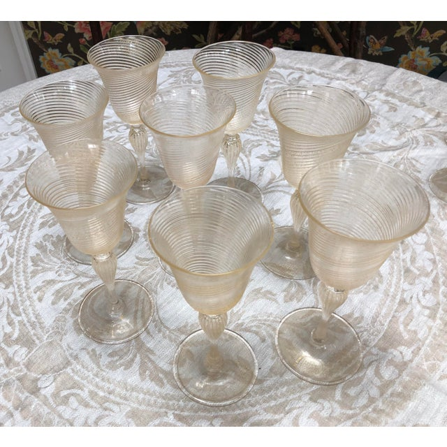 Thirty-two piece set of chic, vintage Venetian glassware. Includes 8 goblets, 8 wine, 8 champagne coupes or compotes with...