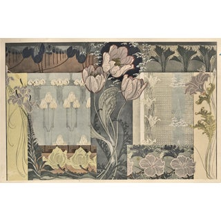 Rare Horizontal Matted Art Nouveau Botanical Chromolithograph Design-Tulip For Sale