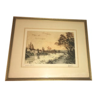 Beautiful 19th Century Hand Colored French Village Lithograph For Sale