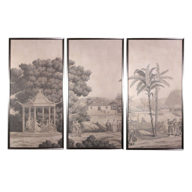 Large Scale Triptych of Idyllic Scenes of Ancient China, Paintings in Brunaille, Jardins en Fleur Showroom Samples For Sale - Image 9 of 9