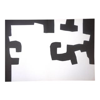 Vintage Mid 20th C. Ltd. Ed. Double Page Lithograph-Derriere Le Miroir-Eduardo Chillida For Sale