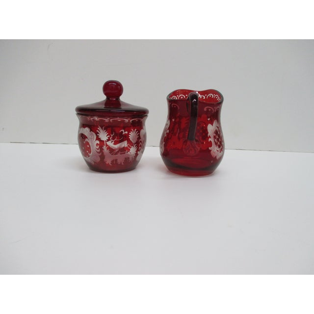 Vintage Set of Sugar and Creamer in Cranberry Glass With Lid For Sale In Miami - Image 6 of 6