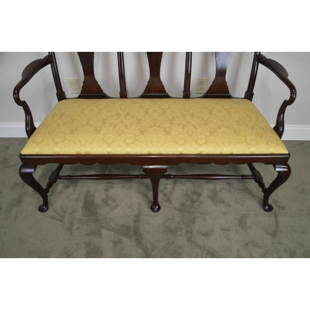 Queen Anne Custom Mahogany Triple Back Settee For Sale - Image 11 of 13