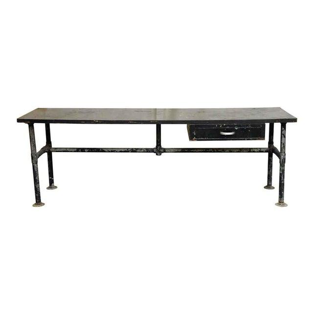 Black Wood Top Black Metal Work Table For Sale - Image 8 of 10