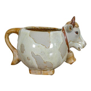 Vintage Cow Form Hand-Thrown Decorative Cup For Sale