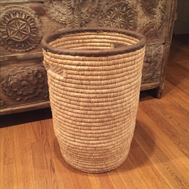 Large French Woven Basket With Leather Rim - Image 2 of 9