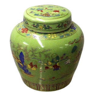 Chinese Lime Green Porcelain Color People Theme Urn Jar Container For Sale