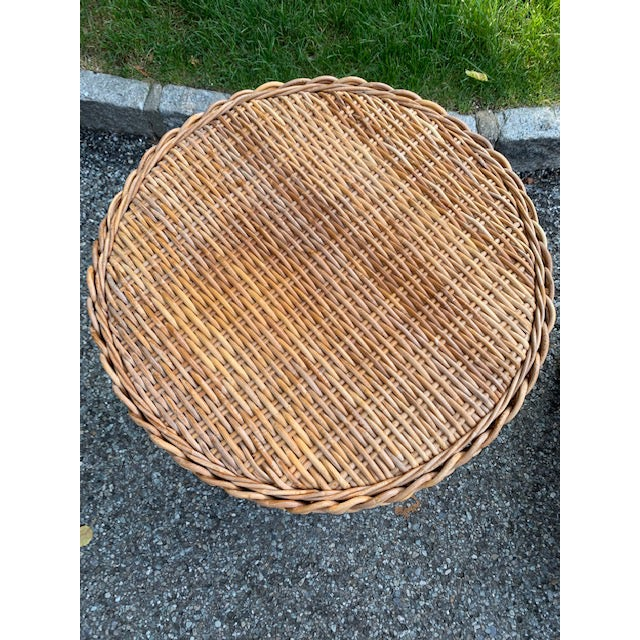 Country 1980s Country Hourglass Shape Wicker/Rattan Side Table For Sale - Image 3 of 5