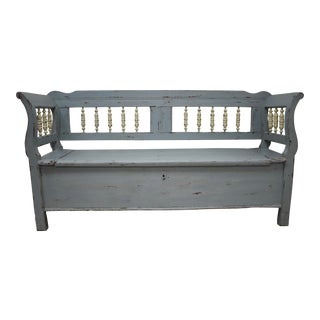 Painted Pine and Oak Storage Bench For Sale