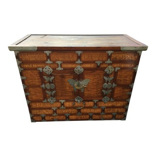 20th Century Primitive Korean Butterfly Blanket Chest With Lock For Sale