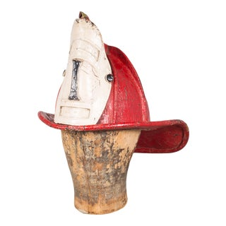 19th C. Red Leather Fireman's Helmet With High Eagle C.1800s For Sale