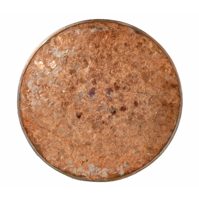 Gold Decorative Capiz Shell & Metal Wastebasket For Sale - Image 8 of 9