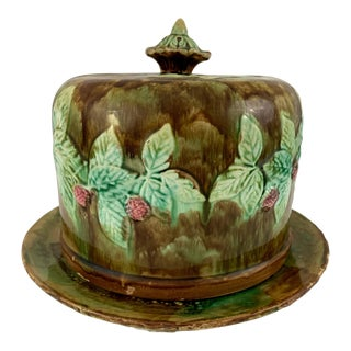 Antique Large Majolica Brown and Green Cheese Dome For Sale