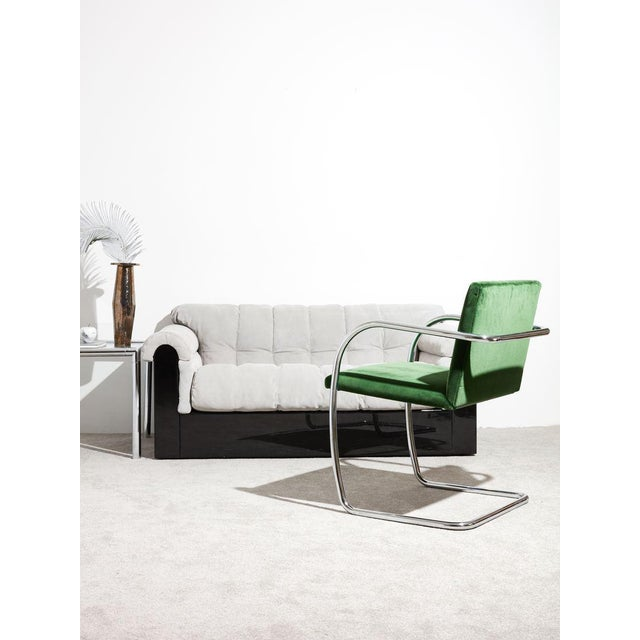 1980s Ludwig Mies Van Der Rohe Tube Chrome Cantilever Side Chair For Sale - Image 5 of 7