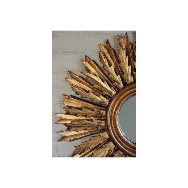 Mid-Century French Double Layer Sunburst Mirror With Original Mirror Glass For Sale - Image 4 of 10