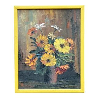 Vintage Floral Still Life Signed Original Oil Painting For Sale