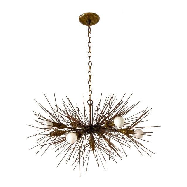Brutalist Brass Urchin Chandelier by Feldman For Sale