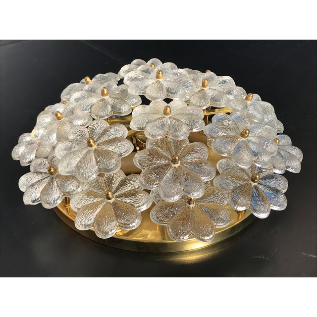 Large Ernst Palme floral glass wall sconce / flush mount. Requires up to 40watt E14 base bulbs. Rewired for USA. Also...