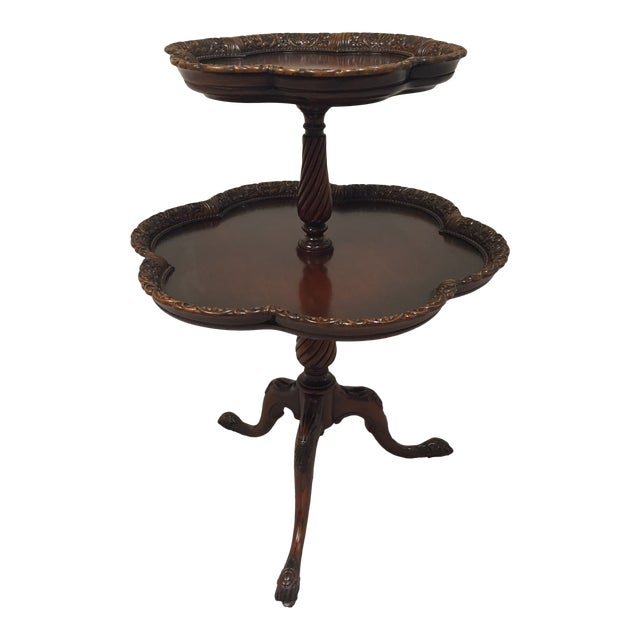 Vintage Chippendale Two Tier Colonial Revival Pie Crust Table For Sale