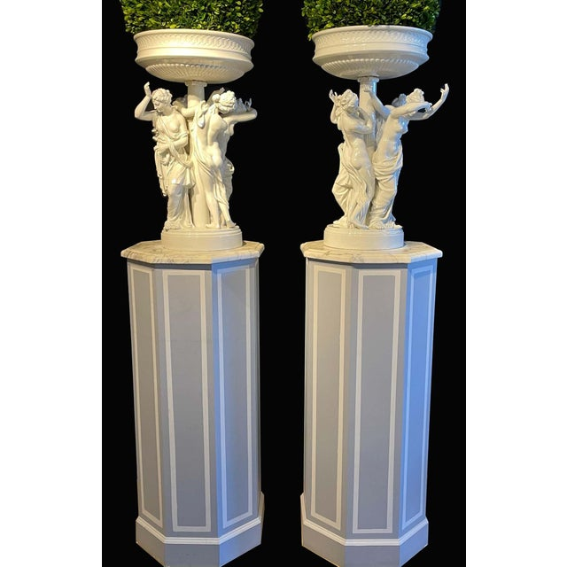 Pair of Antique Dresden Planters Jardinières, Each With Four Dancing Nymphs For Sale In New York - Image 6 of 13