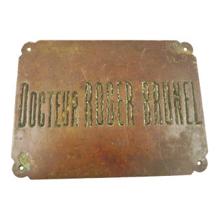 Vintage French Bronze Sign for Doctors Office -Docteur Wall Decor Mid-Century Design For Sale