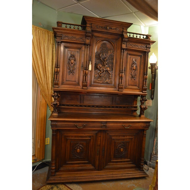 Antique French Ornate Walnut Hand Carved Figural Gothic Bookcase Cabinet For Sale - Image 11 of 11