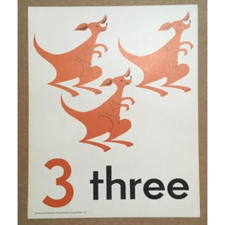 """Vintage Mid Century Teaching Poster, Numbers - """"3"""" Preview"""