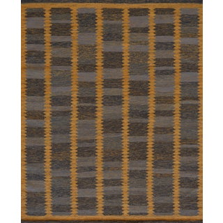 Mansour Hand-Woven Swedish Flatweave Inspired Wool Rug For Sale