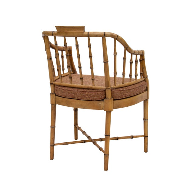 Baker Furniture Company Faux Bamboo Armchair With Caned Seat For Sale - Image 4 of 10