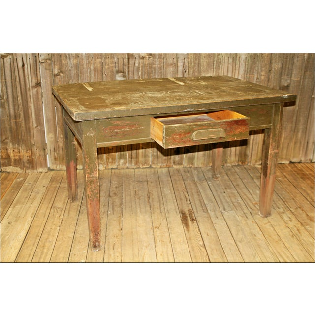 Vintage Industrial Wood Library Table - Image 5 of 11