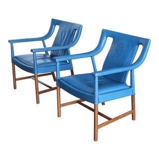 Mid Century Ejner Larsen and Aksel Bender Madsen Armchairs - a Pair For Sale