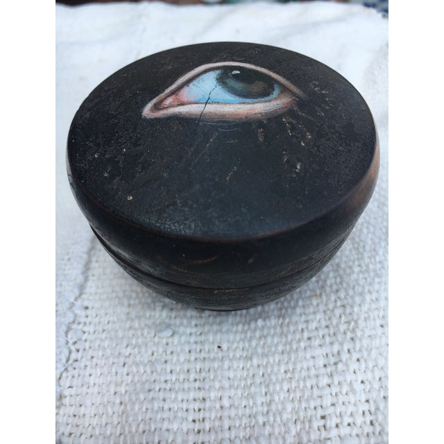 Fantastic antique Chinese wooden box originally used to hold Geisha girl's face powder and puff. Hand turned the box...