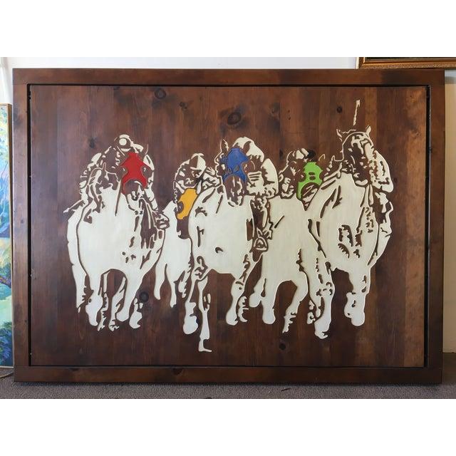 Horse Racing Carved Art by Ken Daddario - Image 3 of 8