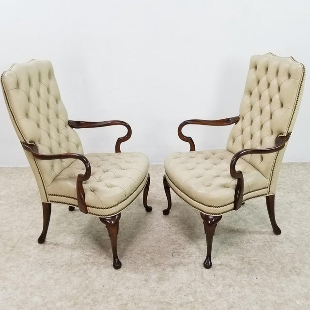 Mid Century Executive Leather and Wood Tufted Chesterfield Armchair For Sale - Image 11 of 13