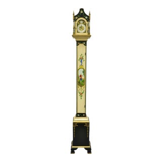 Colonial Mfg Co Hand Painted Adams Style Case Narrow Pencil Grandmother Clock For Sale